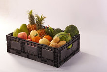 Vegetable and fruit foldable crates, vented, 80% folding rate