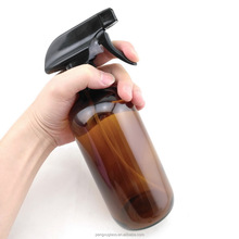 500ml large refillable 16 oz amber glass spray bottle for cleaning , essential oil bottle with black trigger spray top