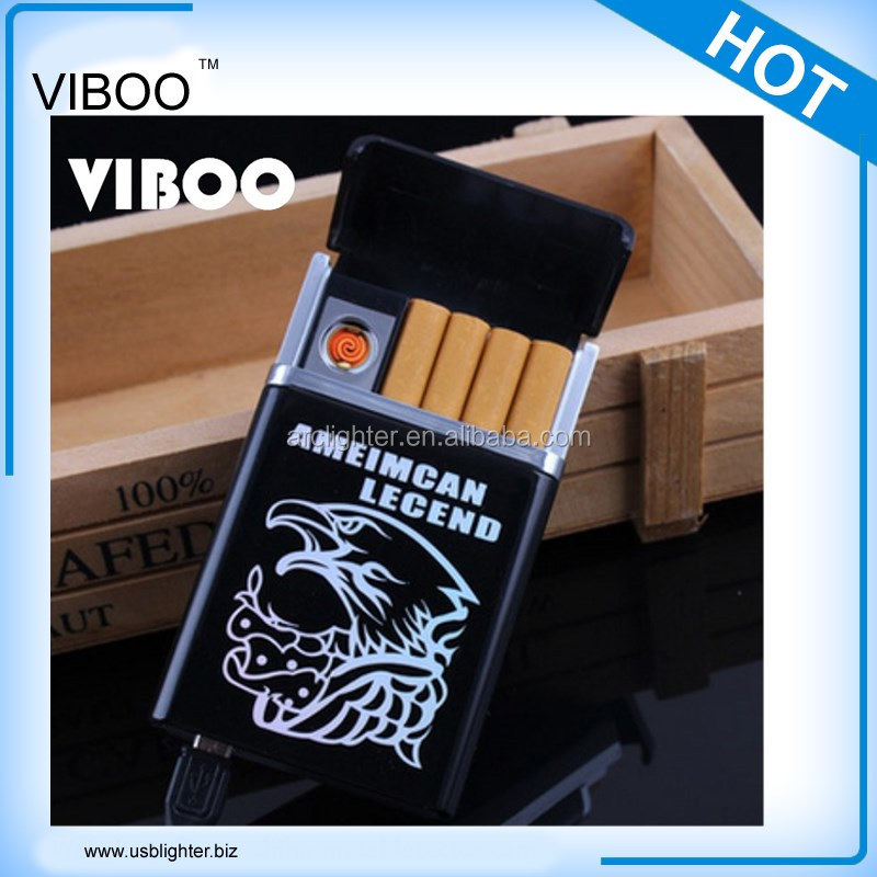 hot sale metal cigarette case with built-in lighter