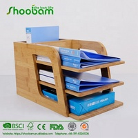 Bamboo Office Desktop Organizer for Files, Paper Tray, Document Holder, 4 Sections