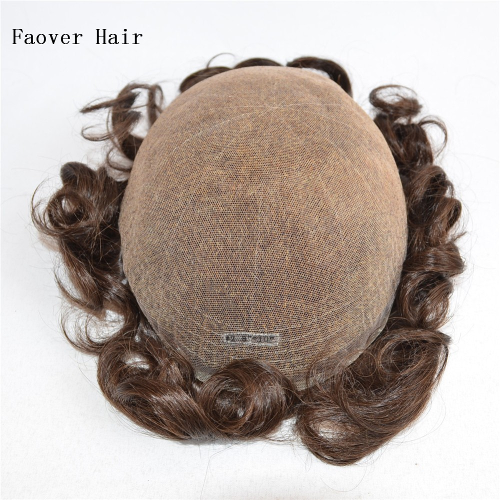 10x8 human hair pieces 1b,2#,4# color men's toupee full swiss lace hair replacement bleach knots