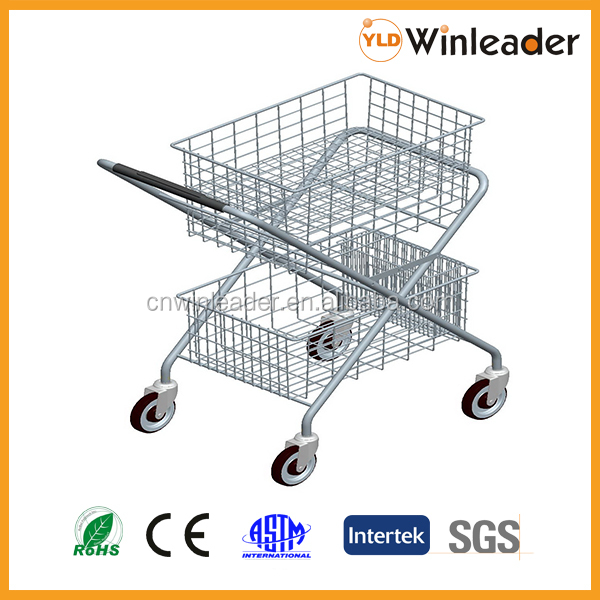 Foldable two basket shopping cart from China manufacturer