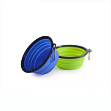 Factory wholesale silicone collapsible pet dog food bowl with carabiner