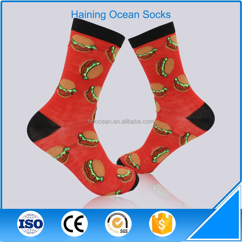 New season funky <strong>100</strong> cotton fun dress socks for men