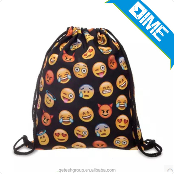 Chinese Factory Customized Eco Emoji Drawstring Bag For Hiking