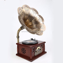 Promotional modern old antique gramophone with brass horn