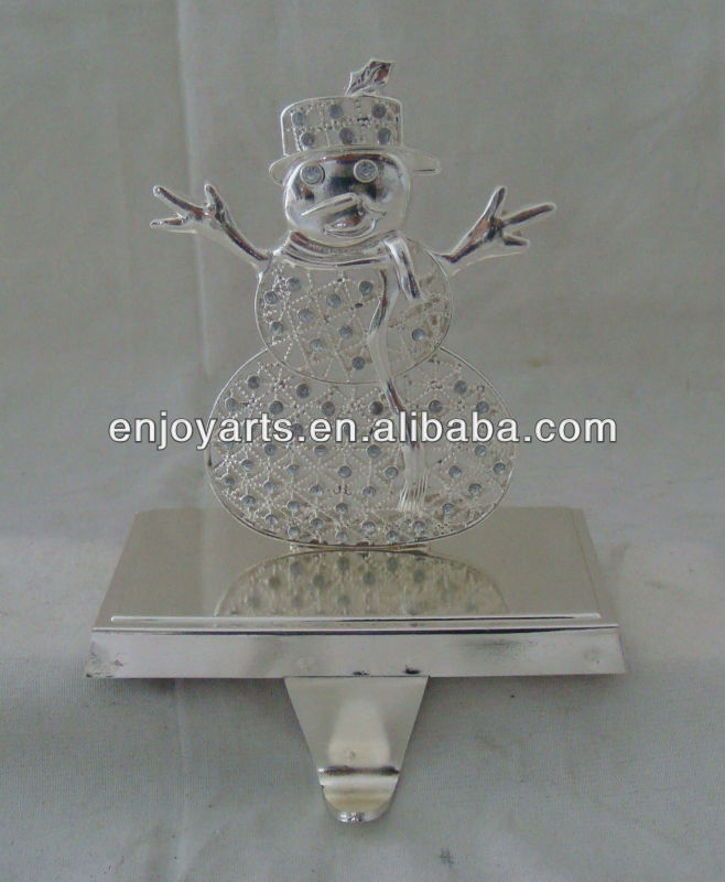 silver metal snowman christmas stocking holder(P13022c)