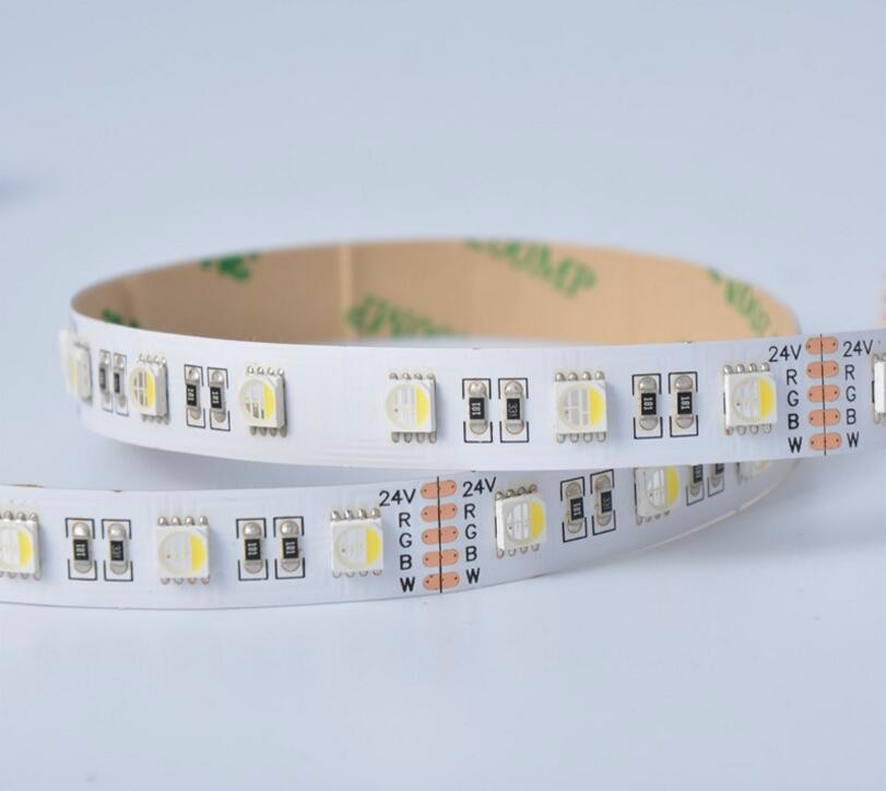 WHITE PCB 5050 SMD 4-in-1 RGBW(warm white) LED Strip;DC24V input 5m long;non-waterproof;IP33