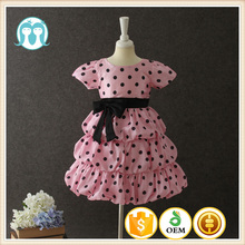 New arrival pakistan girls dress photo Turkey party dress PInk Dot short sleeves Bow-knot Indian girls Kids dresses