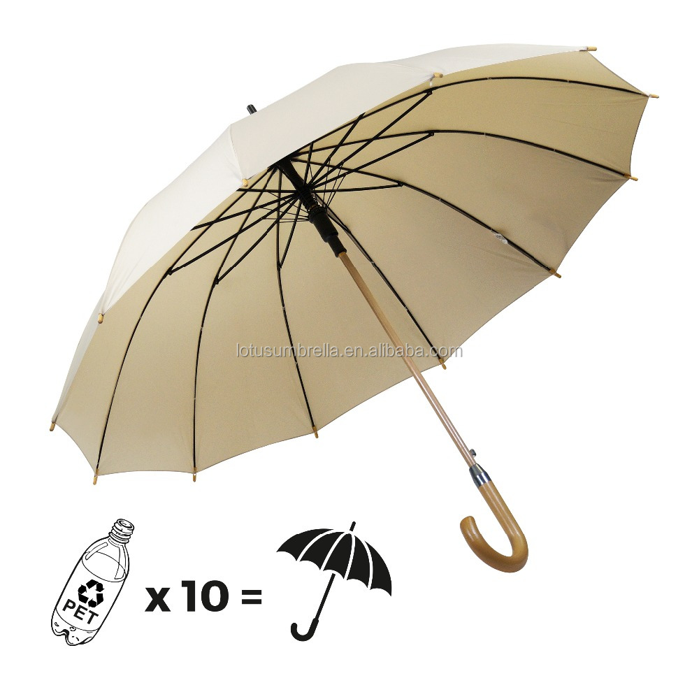 12K Hot Sales Wooden Frame Waterproof Pongee Fabric Stick Umbrella&Customized Logo