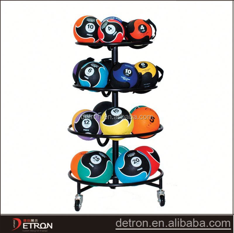 Metal floor ball storage sports display rack