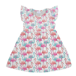New style kids boutique clothing milk silk flamingo girl dresss