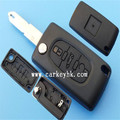 New replacement Remote entry fob case shell flip key case 3 buttons with battery place(CE0536) fit Peugeot 206