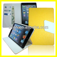 Oracle Bones Retro Folio Leather Case for iPad mini Magnetic Smart Flip Wallet cover cases for Apple iPad mini new Royal Yellow