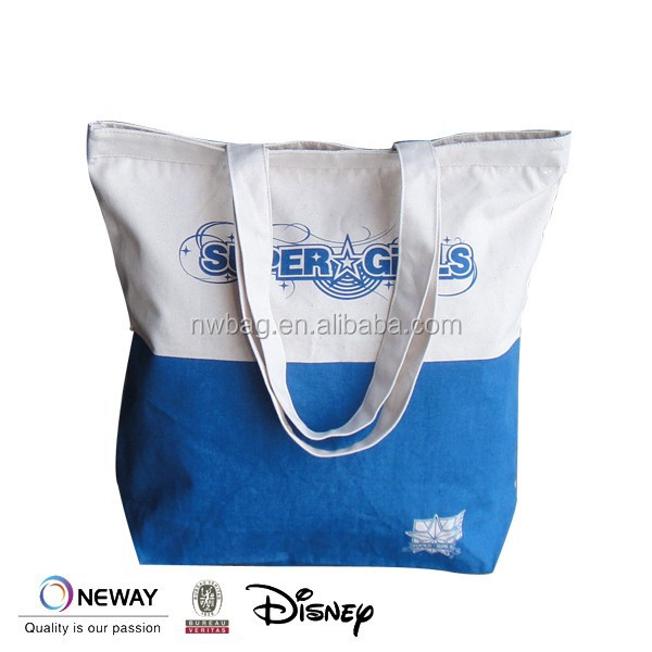 2015 Fancy Colored Zipper Tote Bag/Eco Shopper Bag/Two Tone Colored Zipper Tote Bag