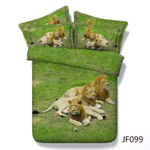 3d Hd Digital Print Lion brothers relaxing bedding set