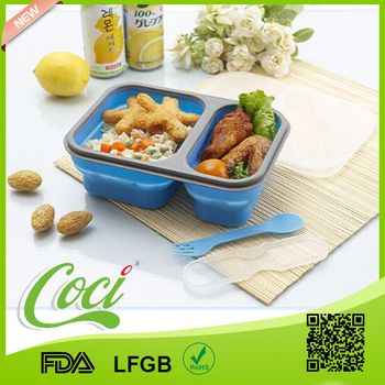 customized silicone foldable lunch box with two compartment