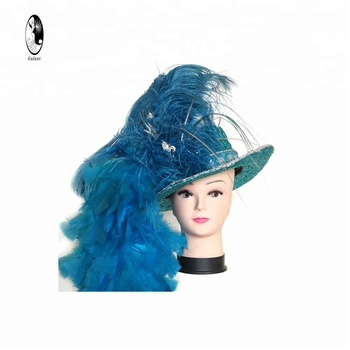 GALANT Masquerade Venetian Hat High-end Long Feather Headpiece Carnival Headdress, Royal blue, One Size