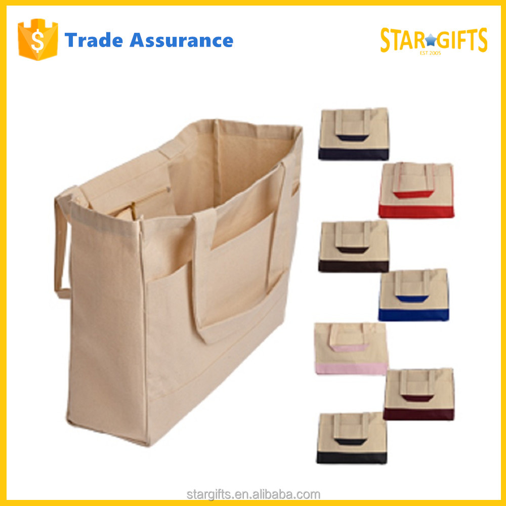 Fancy Wholesale Foldable Square Bottom Thick Cotton Canvas Standing Up Shopping Bags