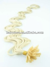 blonde color body wave nail u type keratin human hair extension
