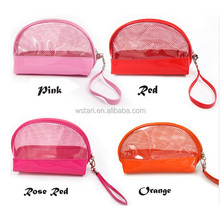 Semicircular Clear plastic vinyl travel cosmetics bag, transparent PVC wash toiletry vanity makeup grooming pouch pack case set