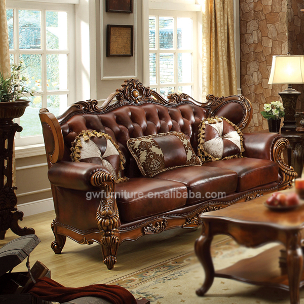 Beautiful Classic Pure Leather Sofa Set High End Leather