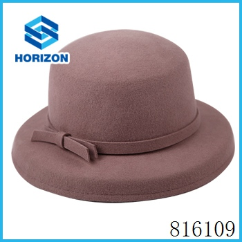 Beautiful millinery wool felt flat top bucket hat for women with curl bow brim
