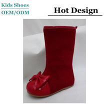 J-T0238 American style bow shoes red suede joint boot shoes children boots in China