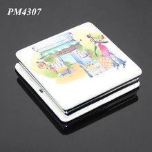 Factory Handheld Folding Compact PU Leather Square Mirrors Ladies Gift Pocket Small Stainless Steel Make up Mirror