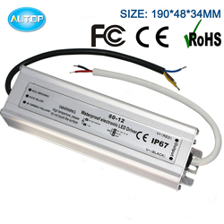 3 Years Warranty 12V 5A Waterproof power supply 60W IP67 LED Driver 12V AC DC adapter with CE ROHS FCC Approved