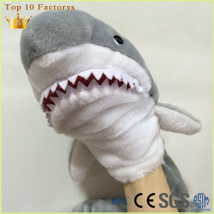 Grey animals plush manufacturing durable Big full body shark puppet