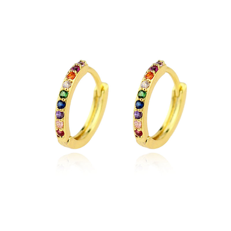 multi color rainbow jewelry mini rainbow zircon huggie <strong>earrings</strong>