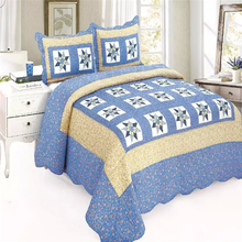 100% cotton popular design blue patchwork thin quilt