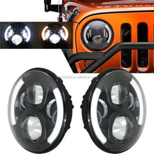 "7"" 60W Round Motorcycle Car LED Projector Headlight For Harley for Jeep Wrangler for Hummer DRL H4 H13 Hi/Lo Beam Headlamp Light"
