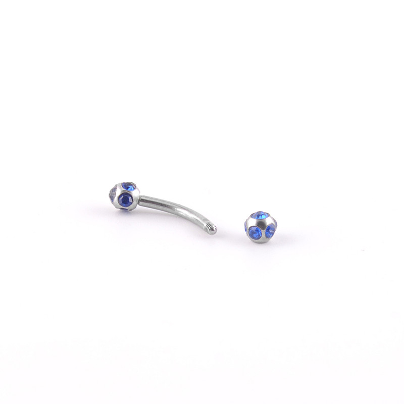 Hot selling eyebrow piercing jewelry silver multi-gem curved barbell wholesale