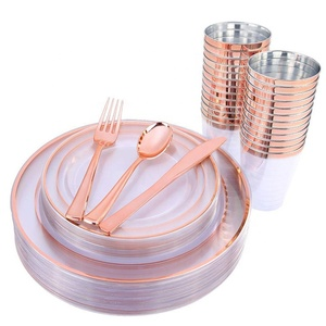 Disposable tableware rose gold plastic cutlery plate and cup set