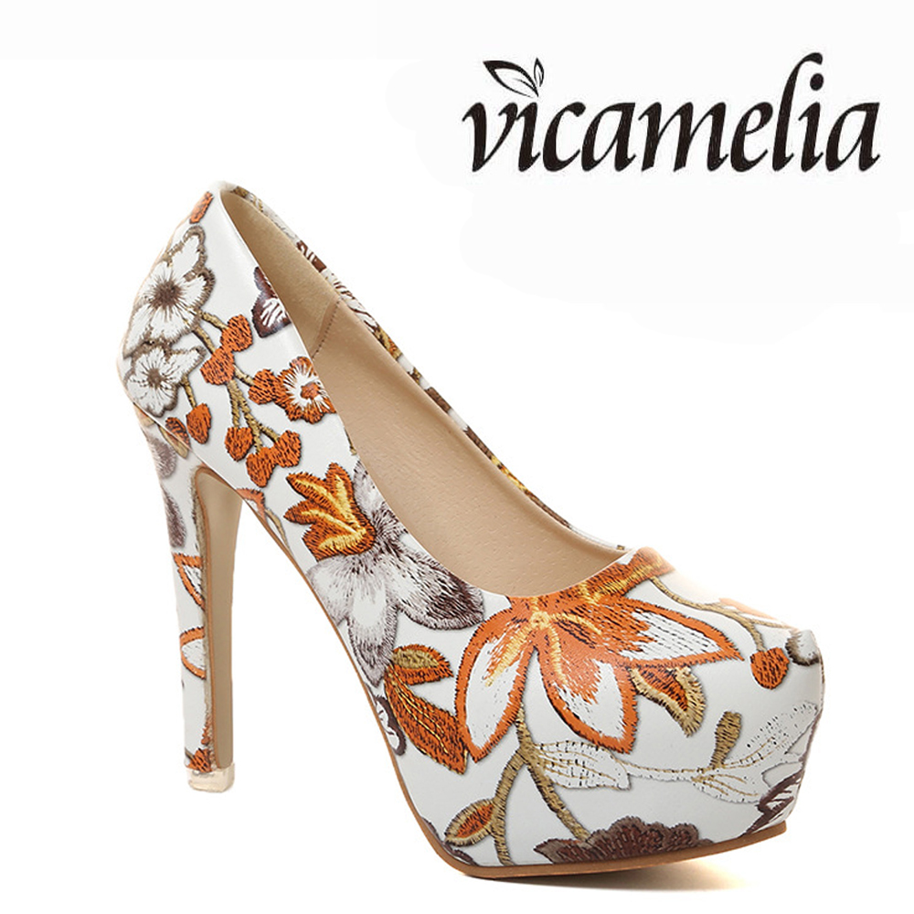 Newest National Style Large Size High <strong>Heels</strong> 42 Print Flowers Pencil High <strong>Heel</strong> Shoes Platform Shoes High <strong>Heels</strong>