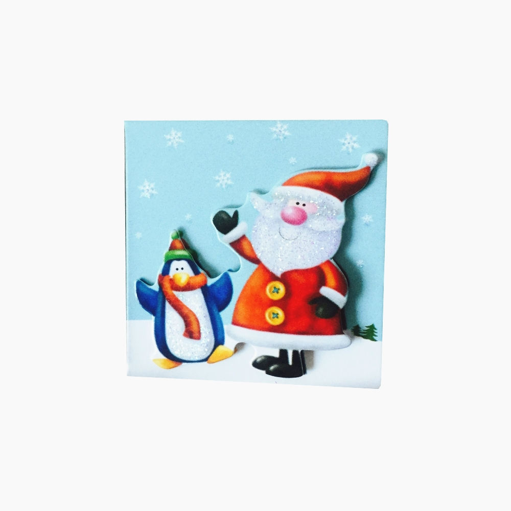 Fashion Mini Christmas Greeting Card With Foam Sticker