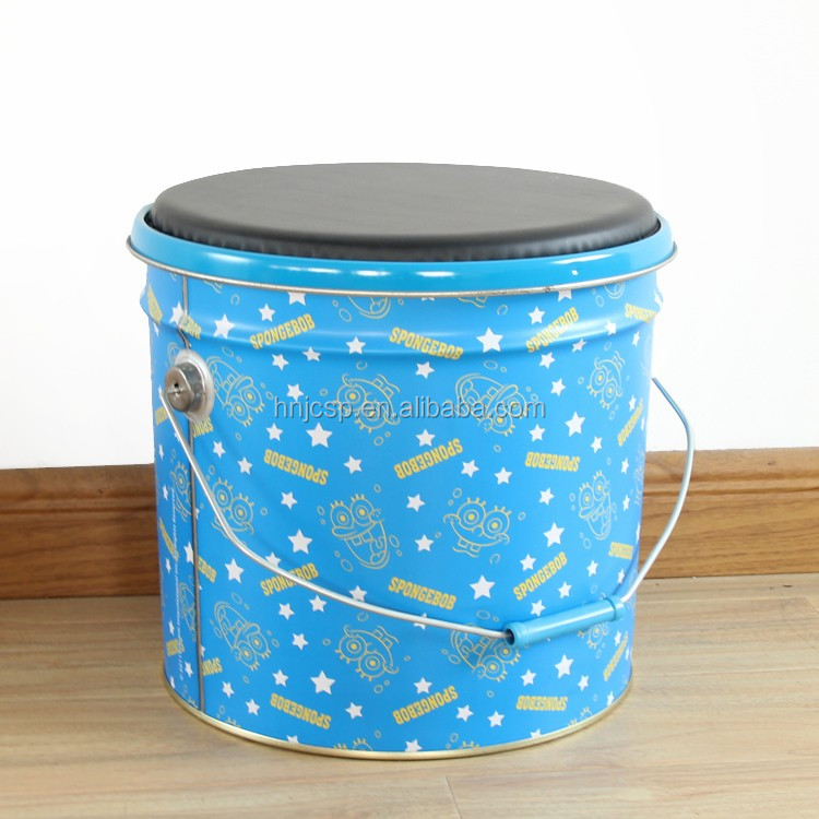 New arrival round kids tin bucket storage stool with metal cover