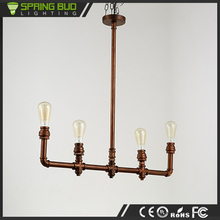 Loft European rust color vintage hanging suspension light with 4 heads for coffee house