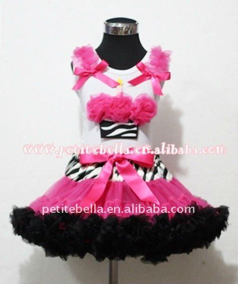 Zebra Hot Pink Black Pettiskirt With Hot Pink Rosettes Zebra Birthday Cake Tank Top with Hot Pink Ruffles