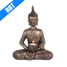 Bronze polyresin buddha candle holder
