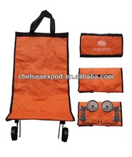 420d polyester folding handled shopping wheel bag