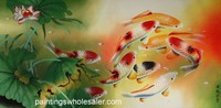 100% Handmade New Modern Lucky Nine Koi Fish Oil Painting Beautiful Large Size Wall Hanging