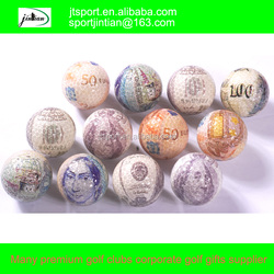 novelties goods from china 2015 transparent money golf balls