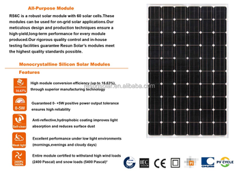 RS6C-M Series 250W-270W Mono Solar Power Panel Used in on-grid or off-grid