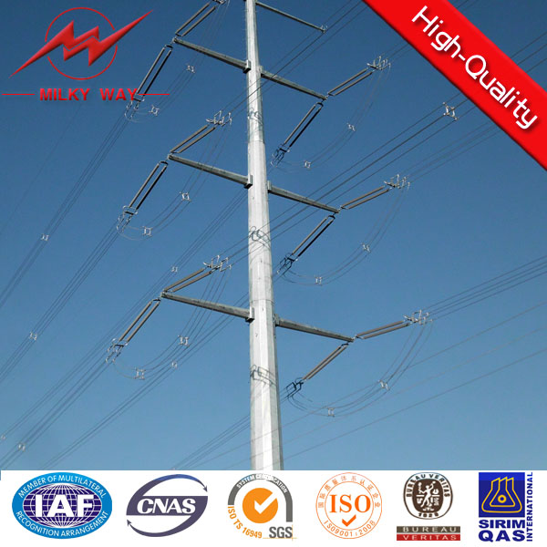 132 Kv Steel Pipe Galvanized electric pole transmission tower with bitumen