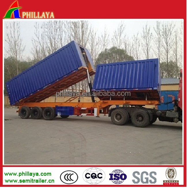 3 axle hydraulic dump double trailer dumper lorry truck trailer for 80Tons