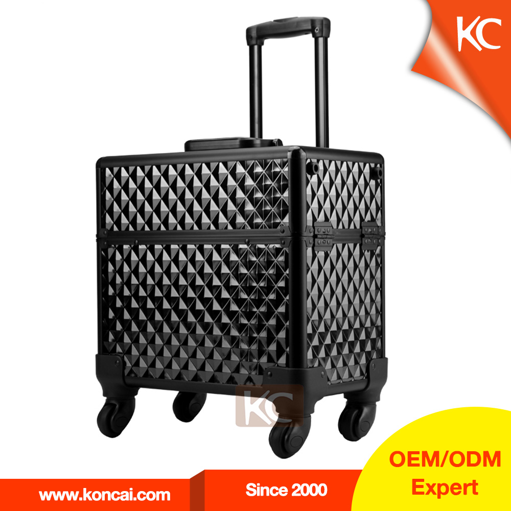 China Supplier Silver Diamond Aluminum Make Up Trolley Case For Hairdresser