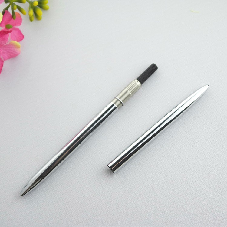 silver thin metal pen , light weight copper pen for office use